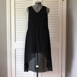 Black H&M short dress with high low layer overlay